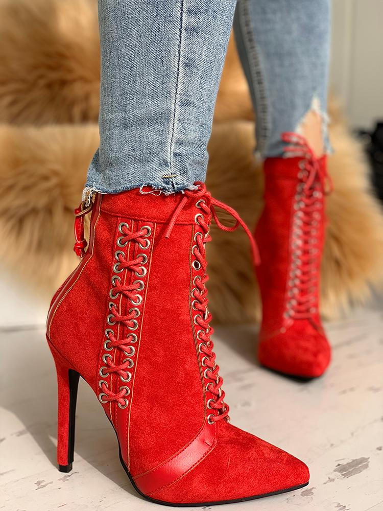 Lace-Up Eyelet Thin Heeled Boots - DadHats2ow6ix