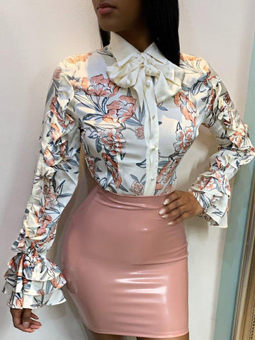 Floral Print Tied Neck Frill Hem Sleeve Shirt