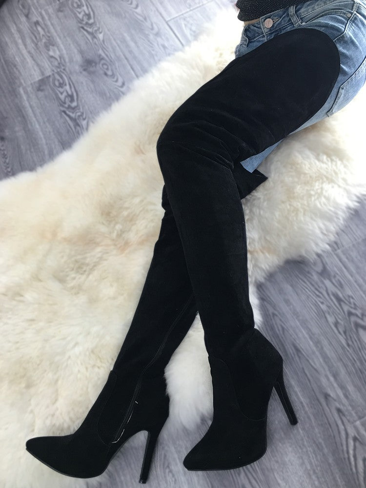 Stylish Black Thigh High Stiletto Boots - DadHats2ow6ix