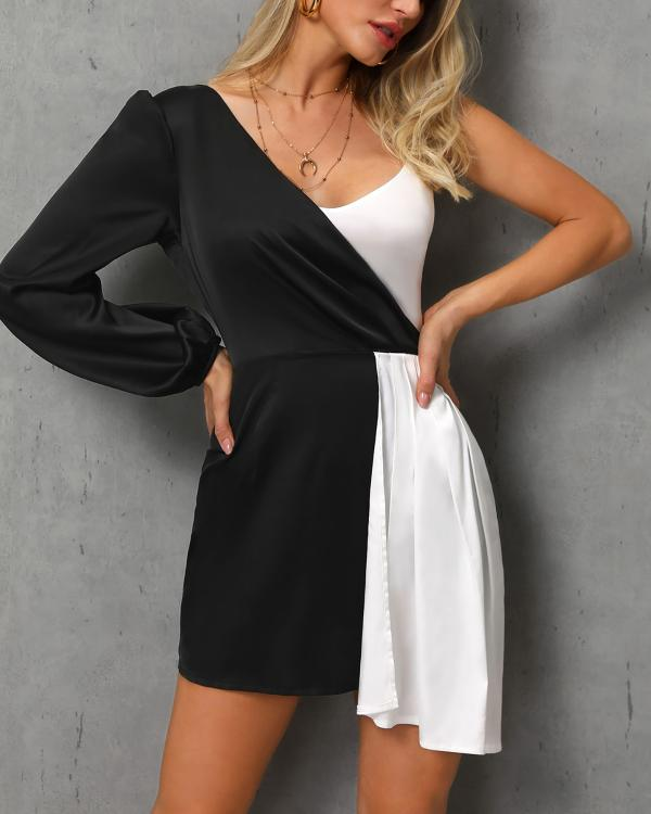 One Shoulder Colorblock Insert Dress - DadHats2ow6ix