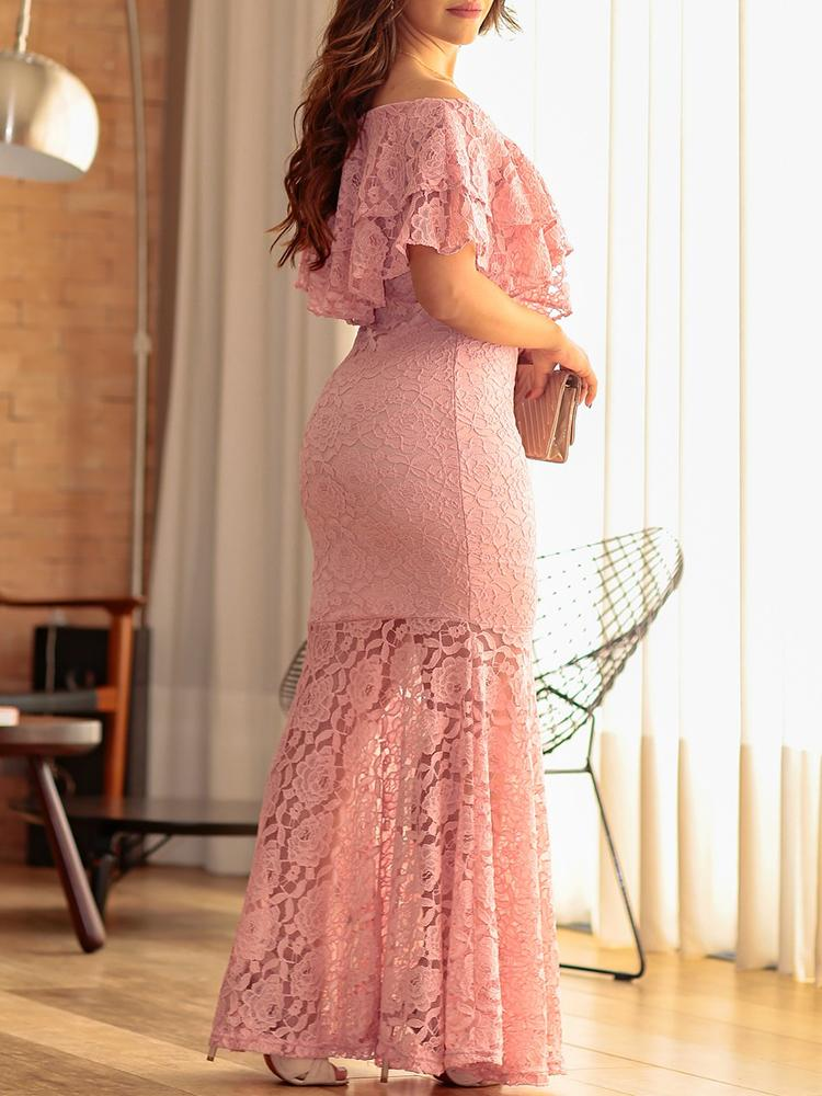 Solid Lace Ruffles Layered Fishtail Maxi Dress - DadHats2ow6ix