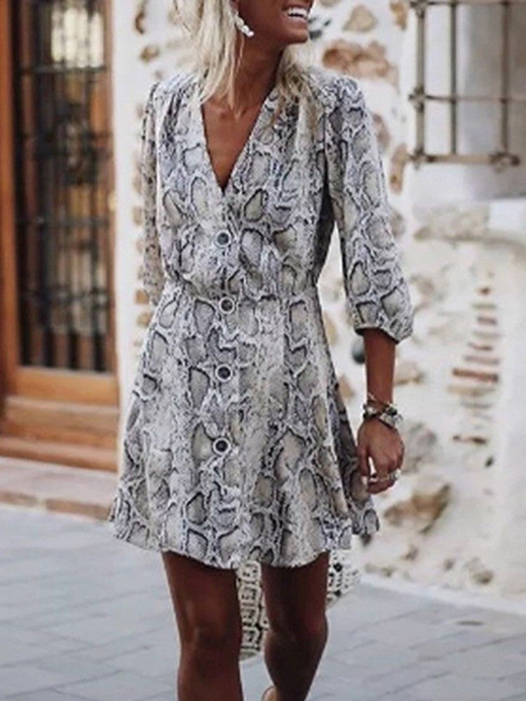 Snakeskin Print Button Design Casual Dress - DadHats2ow6ix