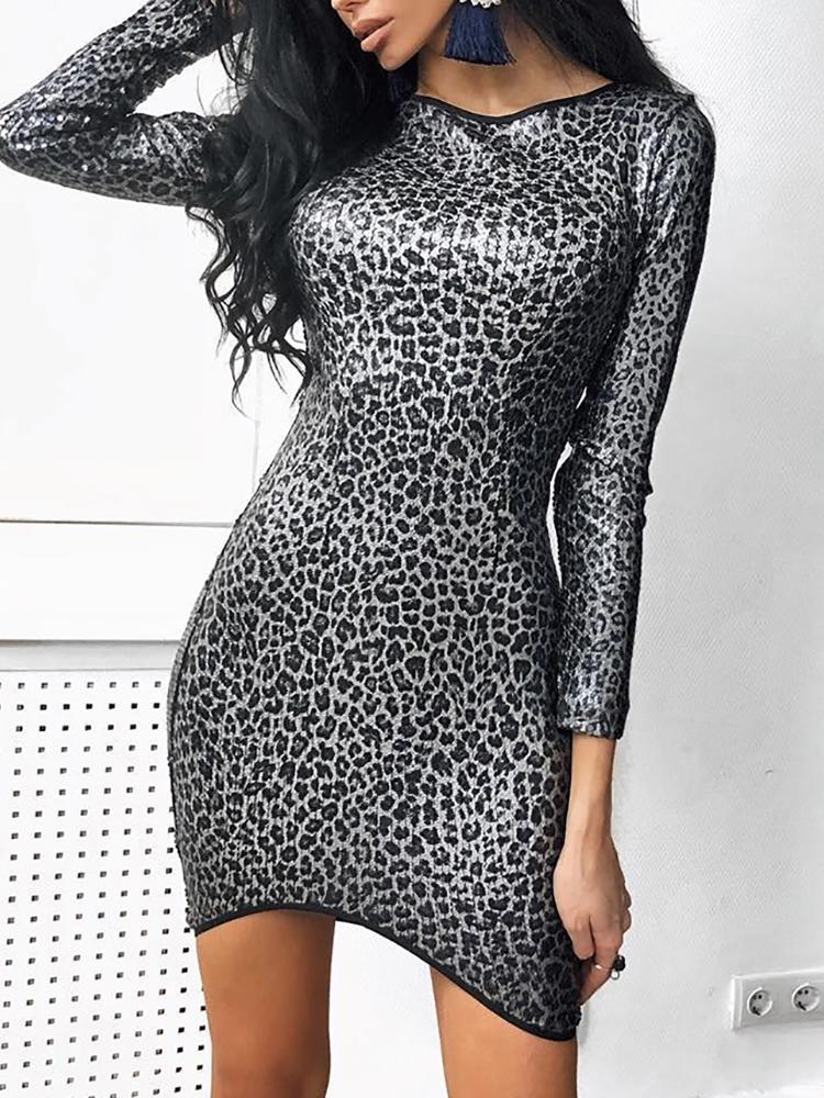 Leopard Print Long Sleeve Bodycon Dress - DadHats2ow6ix