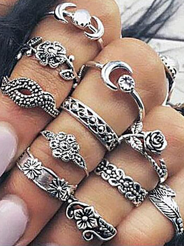 Vintage Women Alloy Carving Rings Set - DadHats2ow6ix