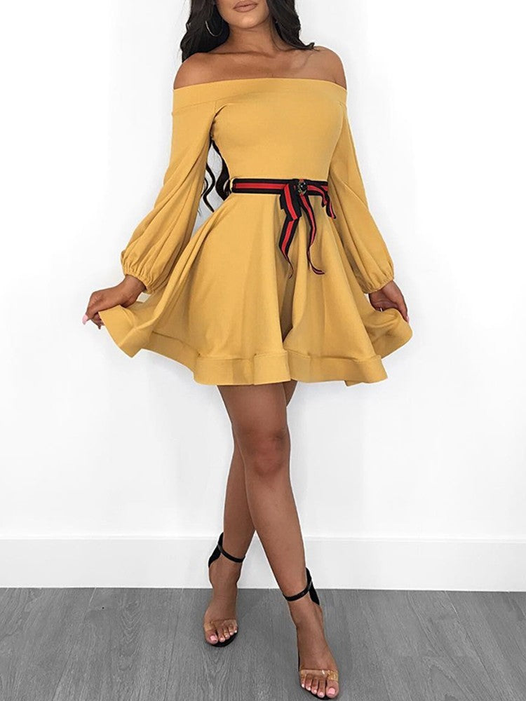 Off Shoulder Lantern Sleeve Mini Dress With Belt - DadHats2ow6ix
