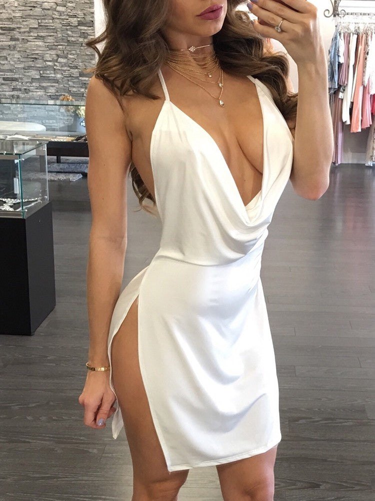 Sexy Backless Halter Neck Plunged Dress - DadHats2ow6ix