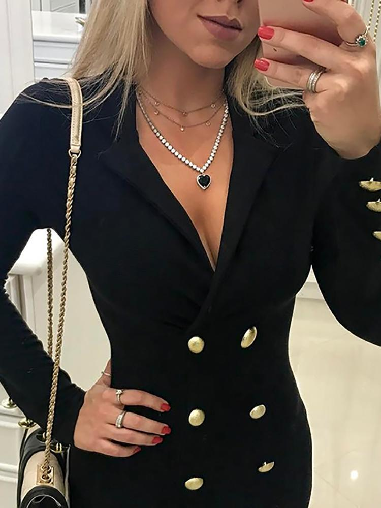 Plunge Neck Double-Breasted Blazer Dress - DadHats2ow6ix