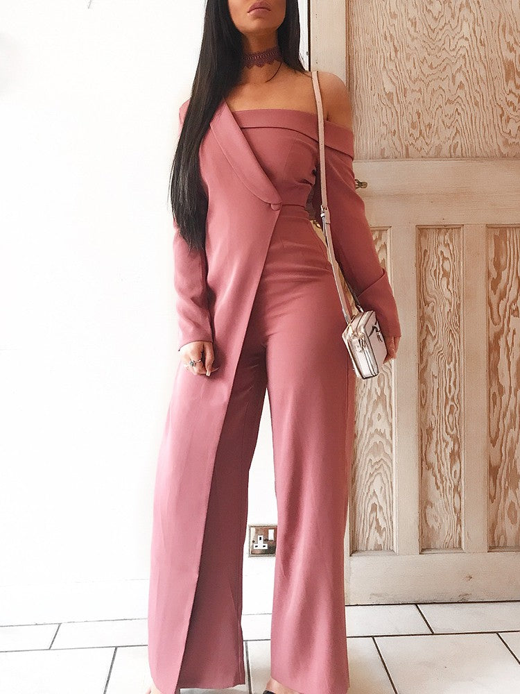 Fashion Patchwork Off Shoulder Wide Leg Jumpsuit - DadHats2ow6ix