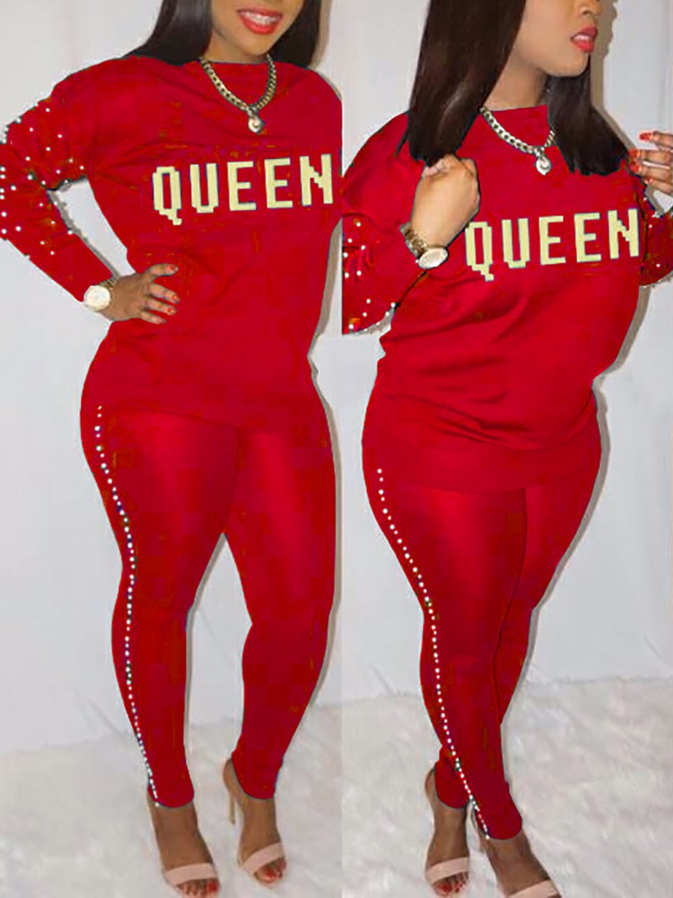 Skinny Beading Side Letter Print Pantsuits - DadHats2ow6ix