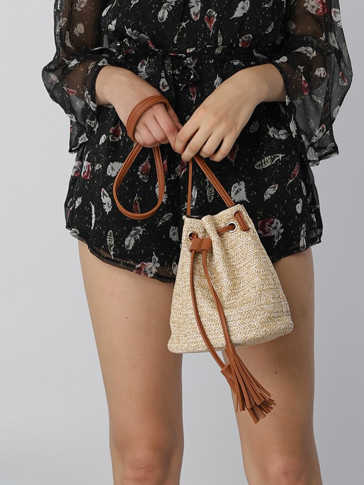 Straw Tassels Embellished Single Shoulder Bucket Bag - DadHats2ow6ix