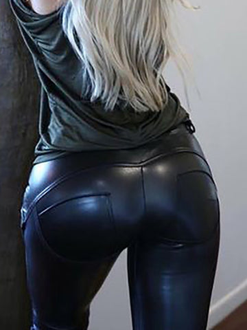 Sexy Women Skinny PU Artificial Leather Pants