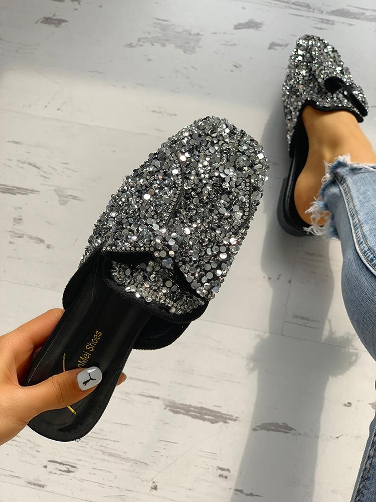 Sequins Embellished Bowknot Flat Sandals - DadHats2ow6ix