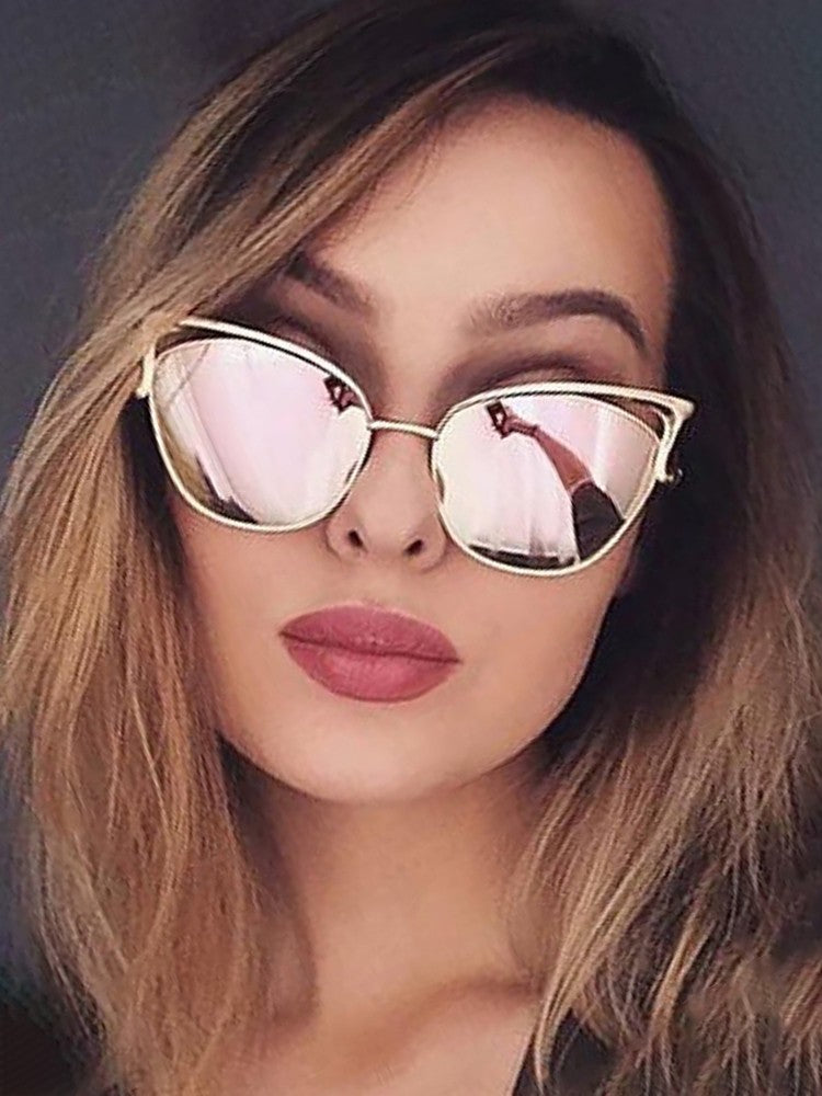 Fashion Reflactive Cat Eye Lens Sunglasses - DadHats2ow6ix