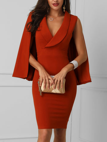 Plunge Cape Design Bodycon Dress
