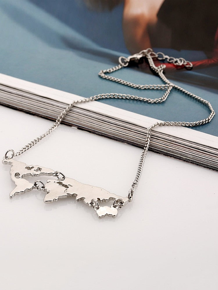 Fashion Alloy Plated Map Shaped Chains Necklace - DadHats2ow6ix