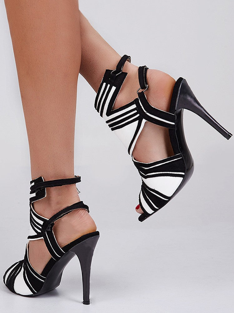 Contrast Color Cut Out Strappy High-heel Sandals - DadHats2ow6ix