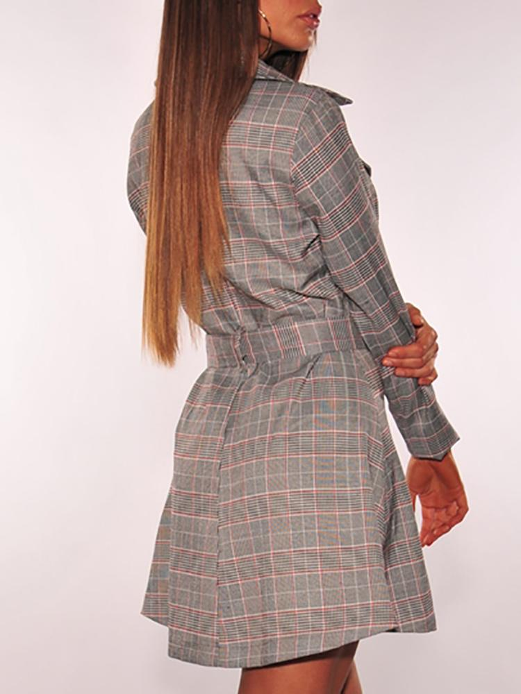 Plaid Print Zipper Design Double-Breasted Belted Dress - DadHats2ow6ix