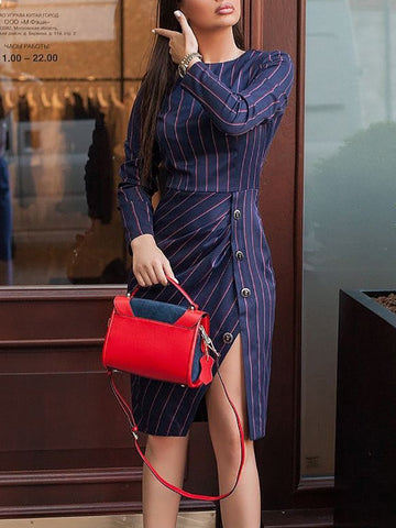 Contrast Stripes Button Ruched Slit Side Dress