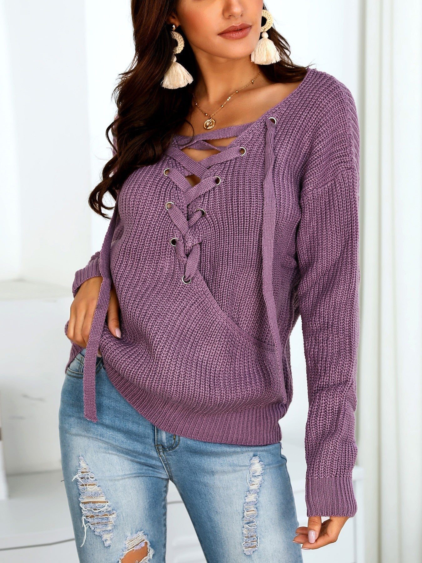 Lace-up Open Back Casual Sweaters - DadHats2ow6ix