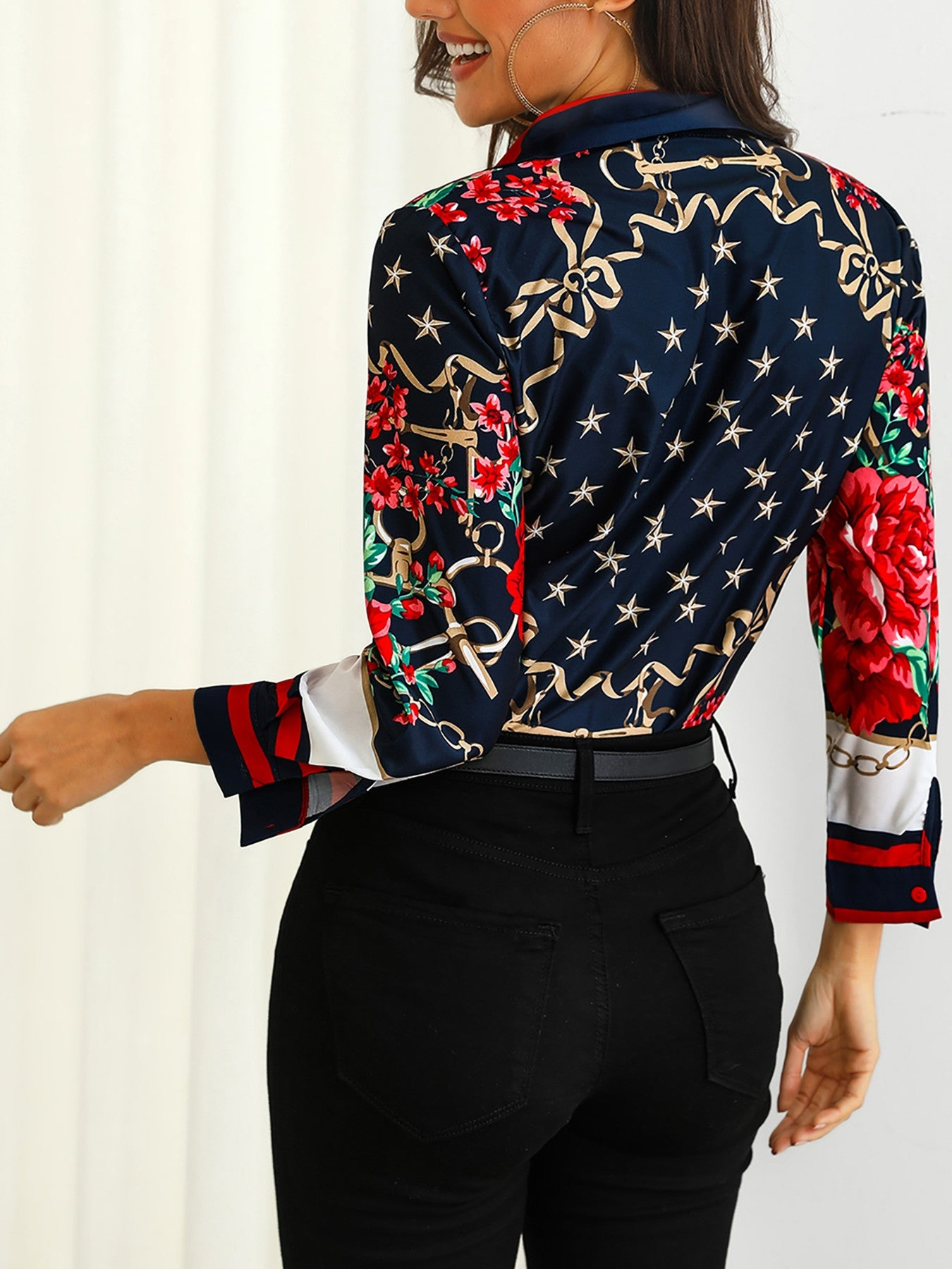 Floral & Chains Print Casual Blouse - DadHats2ow6ix
