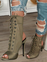 Stylish Lace-up Open Toe High-heeled Boots - DadHats2ow6ix