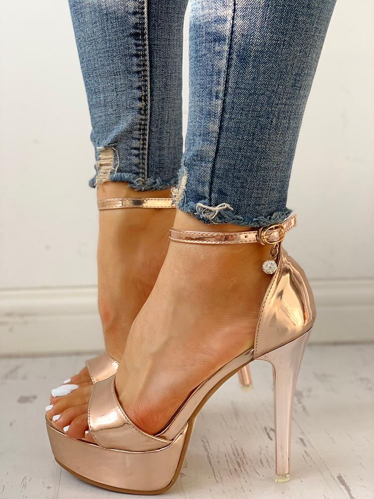 Single Strap Ankle Buckled Platform Sandals - DadHats2ow6ix