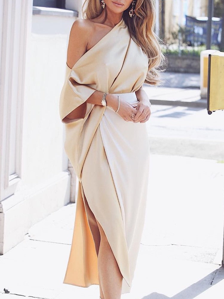 One Shoulder Wrap Side Slit Maxi Dress - DadHats2ow6ix