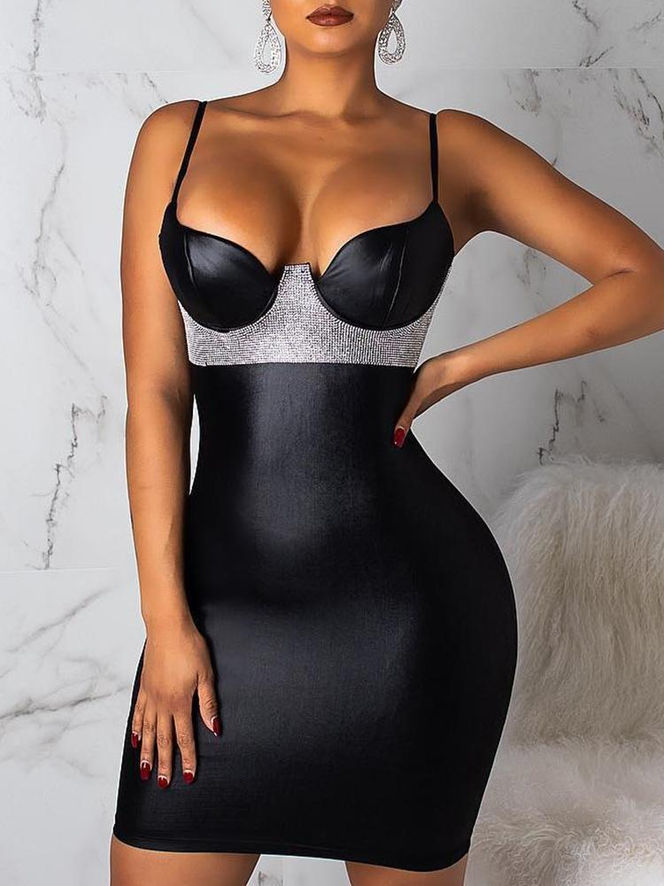 Spaghetti Strap Gem-Studded Bodycon Dress - DadHats2ow6ix
