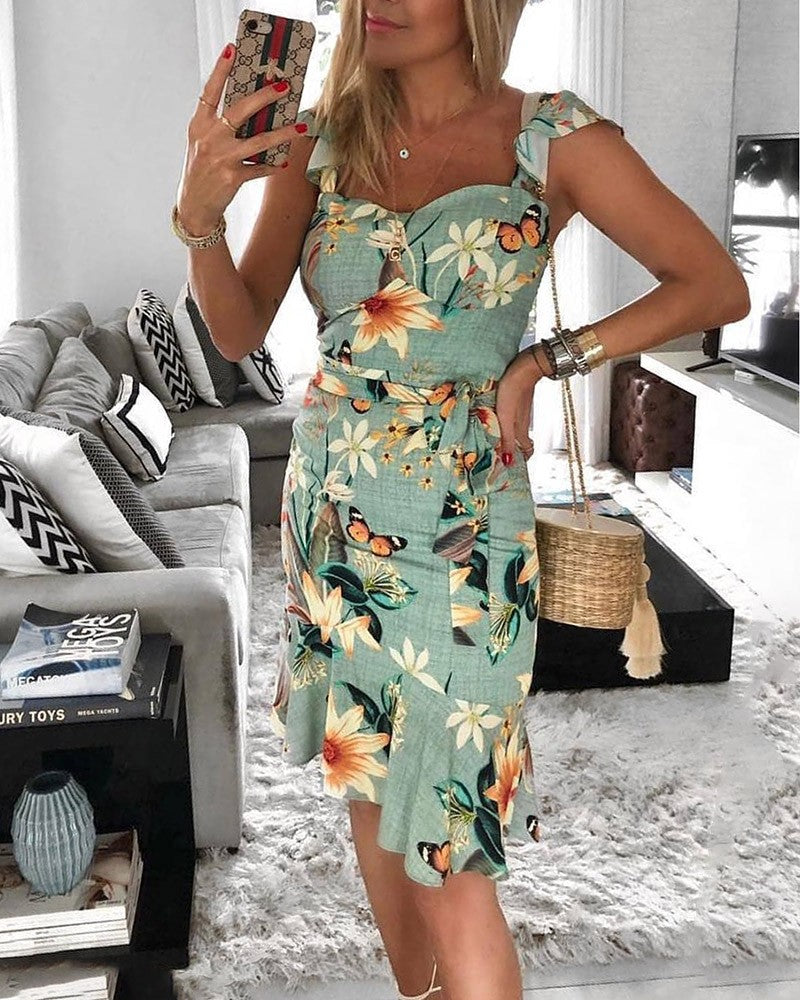 Ruffles Design Floral Print Irregular Dress - DadHats2ow6ix