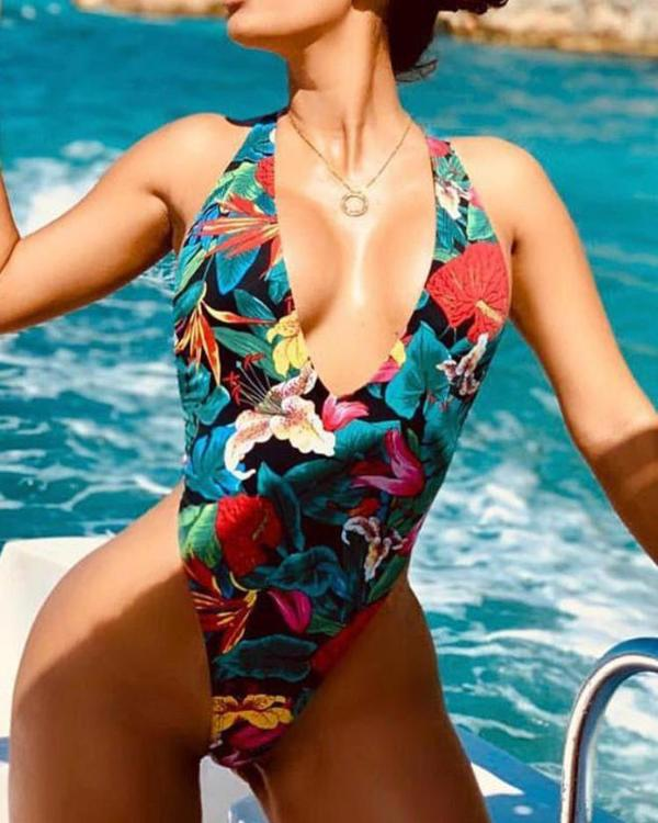 Floral Print Open Back One Piece Swimwear - DadHats2ow6ix