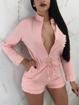 Beaded Embellished O-Ring Zipper Drawstring Romper - DadHats2ow6ix