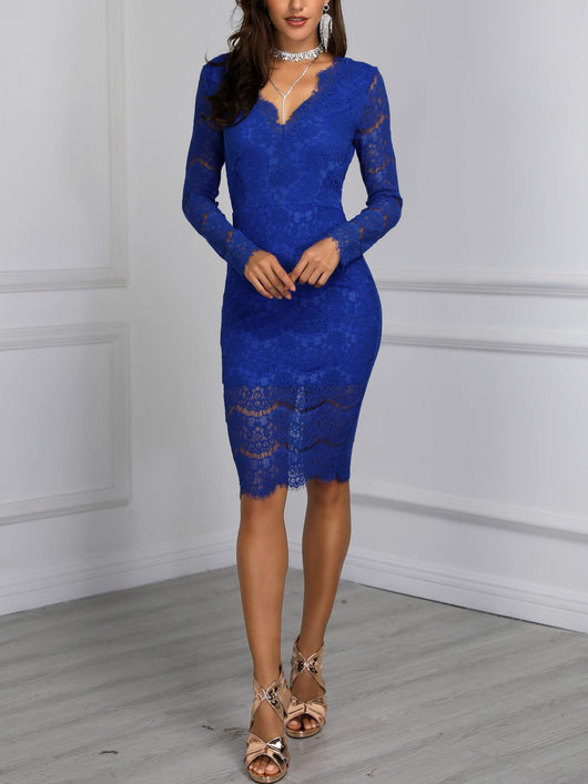 Eyelash Lace Open Back Bodycon Dress - DadHats2ow6ix