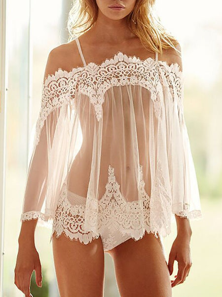 Off Shoulder Eyelash Lace Trim Babydoll Lingerie - DadHats2ow6ix