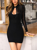 Sheer Mesh & Stripes Keyhole Front Bodycon Dress - DadHats2ow6ix