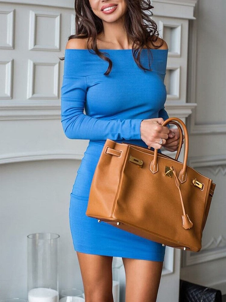 Solid Off Shoulder Long Sleeve Bodycon Dress - DadHats2ow6ix