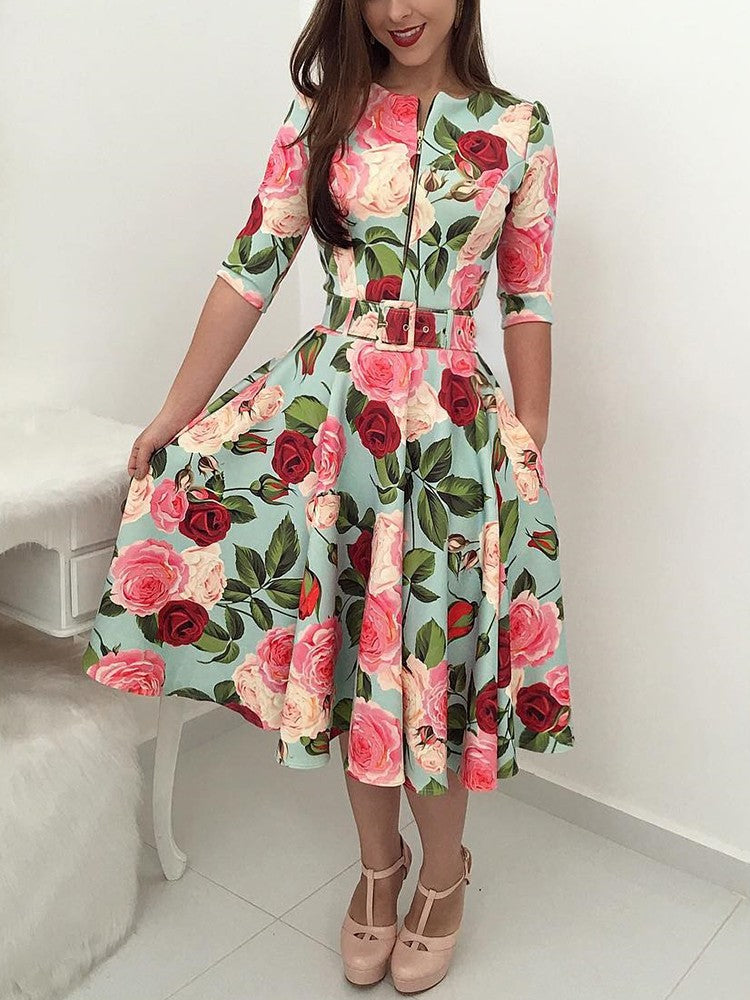 Floral Print Zipper Up Self Belted Pleated Dress - DadHats2ow6ix