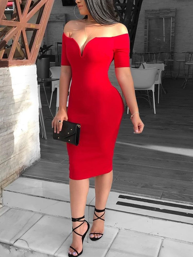 Solid Off Shoulder Short Sleeve Bodycon Dress - DadHats2ow6ix