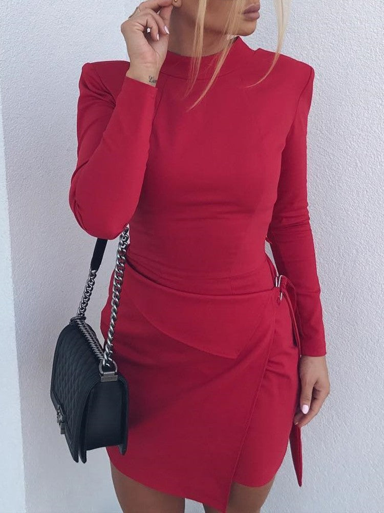 Solid Long Sleeve Bodycon Mini Dress - DadHats2ow6ix
