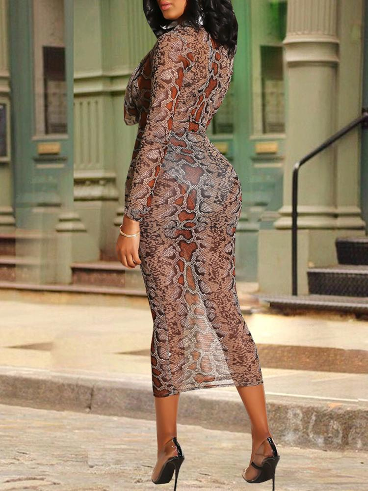 Snakeskin Print See Through Bodycon Dress - DadHats2ow6ix