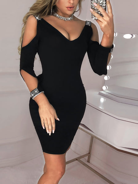 Cut Out Sleeve Glitter Splicing Bodycon Dress - DadHats2ow6ix