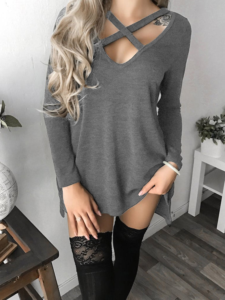 Trendy Crisscross V Neck Long Sleeve Casual Dress - DadHats2ow6ix