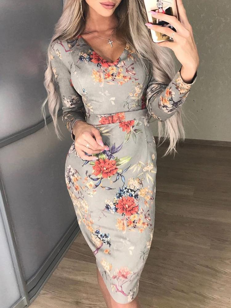 Floral Print Long Sleeve Pencil Dress - DadHats2ow6ix