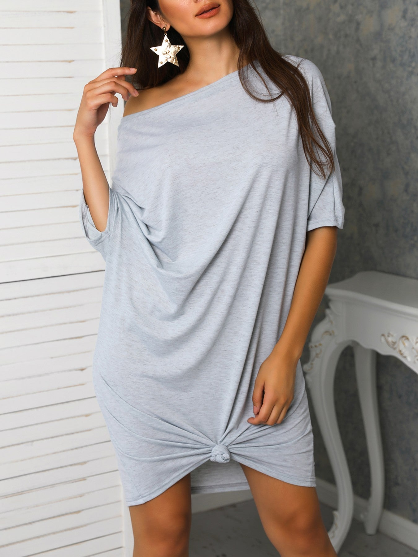 Batwing Sleeve Knotted Solid Loose Dress - DadHats2ow6ix