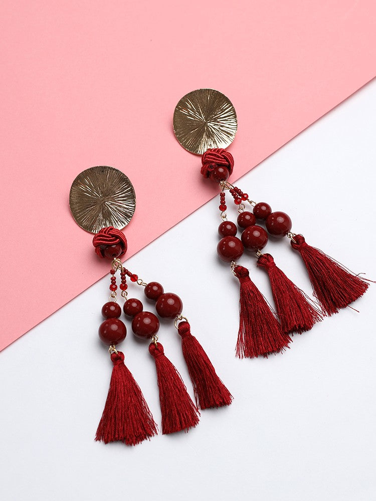 Exaggerated Boho Tassel Long Statement Earrings - DadHats2ow6ix