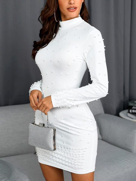 Beading Embellished Long Sleeve Bodycon Dress - DadHats2ow6ix