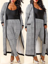 Houndstooth Print Cardigan and Pants Set - DadHats2ow6ix