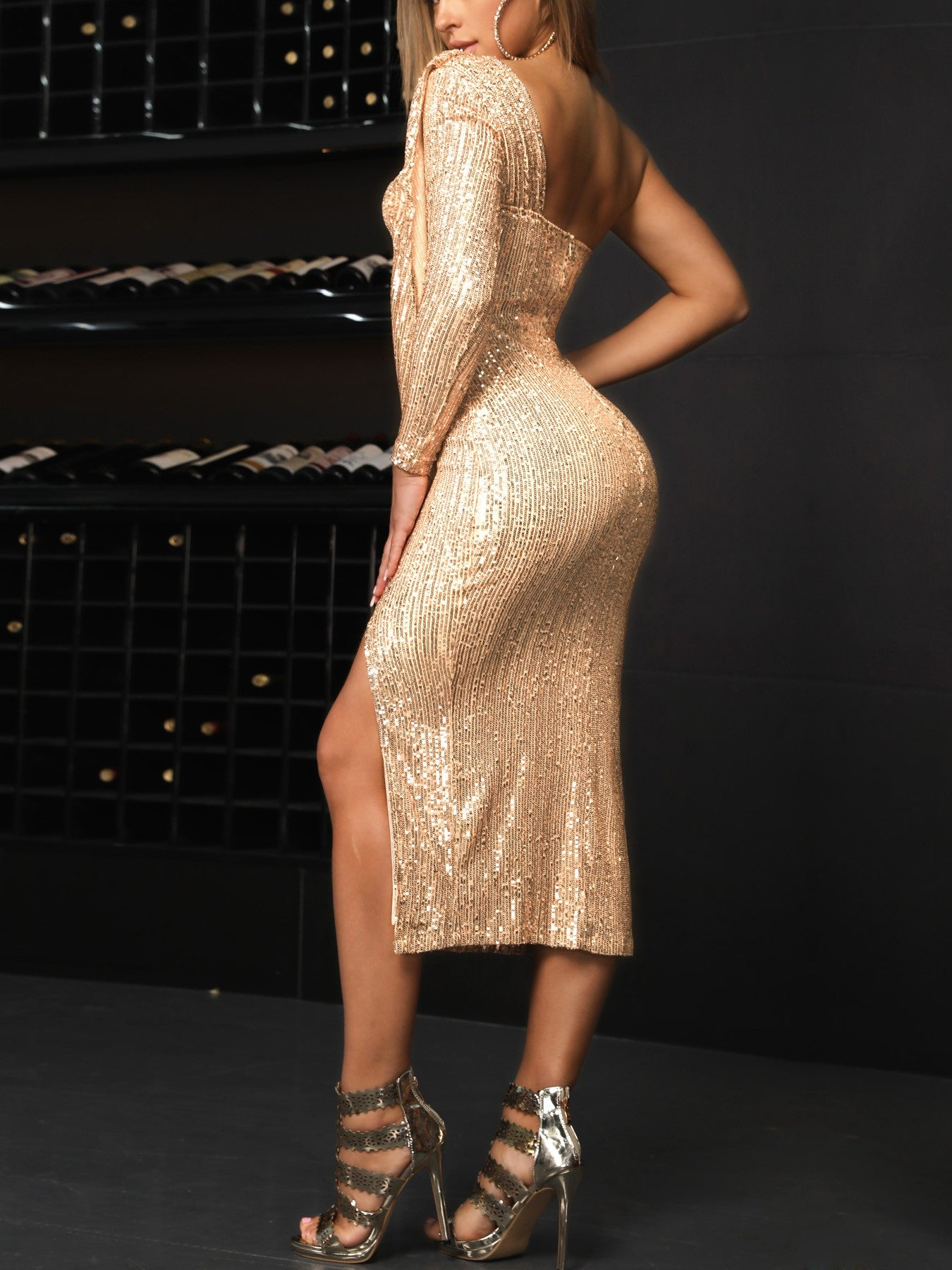 Sequin One Shoulder Drape Design Slit Party Dress - DadHats2ow6ix