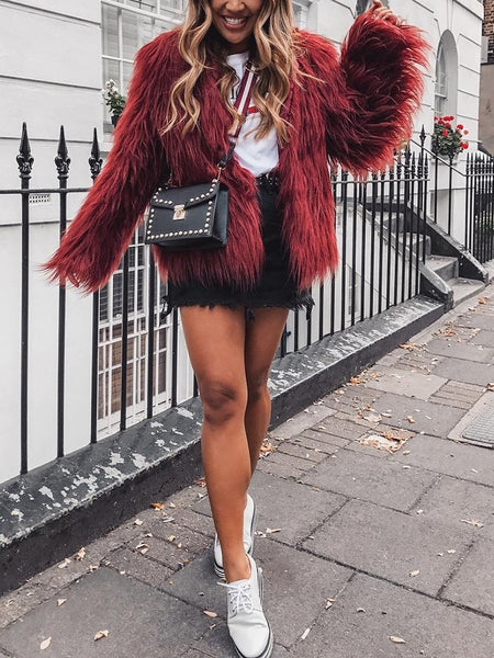 Warm Faux Fur Fluffy Cropped Jacket - DadHats2ow6ix