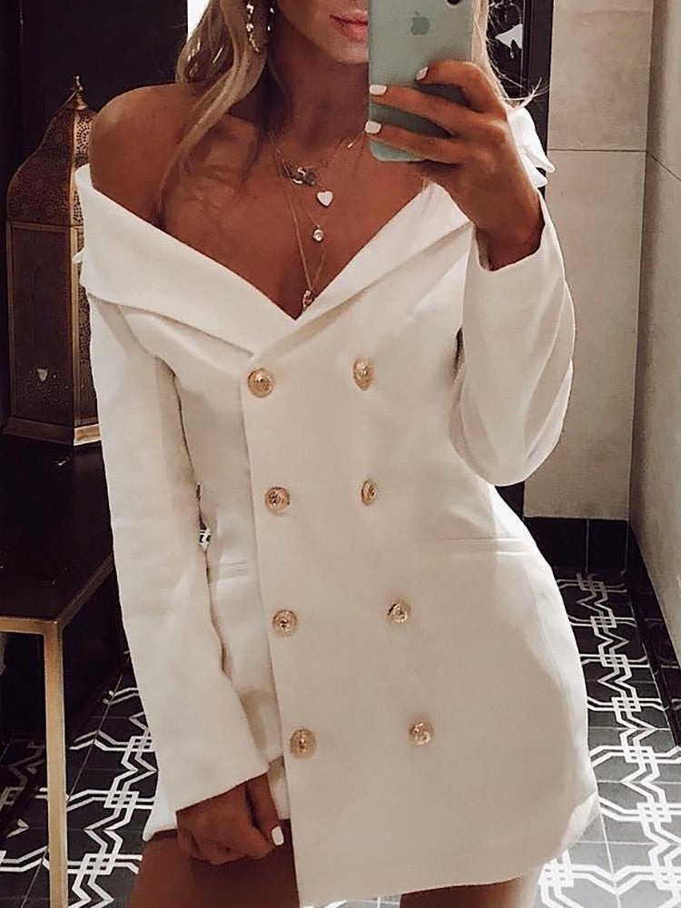 Solid Double-Breasted Irregular Blazer Dress - DadHats2ow6ix