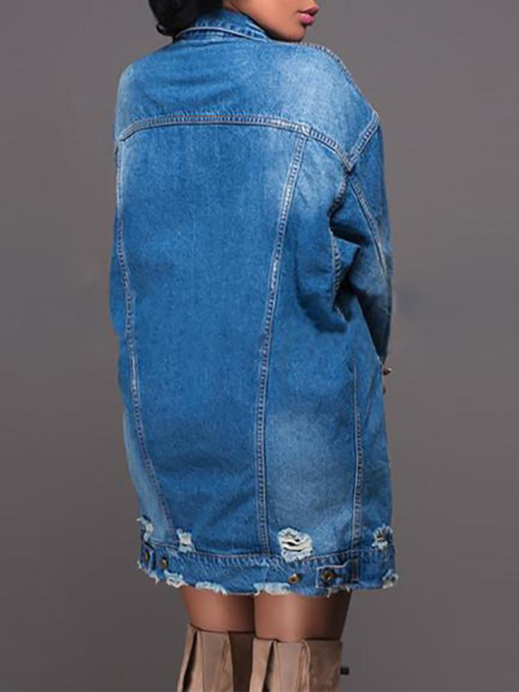 Denim Distressed Fringes Pocket Design Coat - DadHats2ow6ix